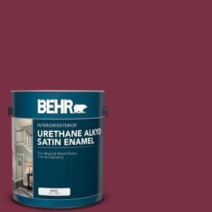 Behr 1 Gal Ppu1 13 Spiced Wine Urethane Alkyd Satin Enamel Interior Exterior Paint 793001 The Home Depot