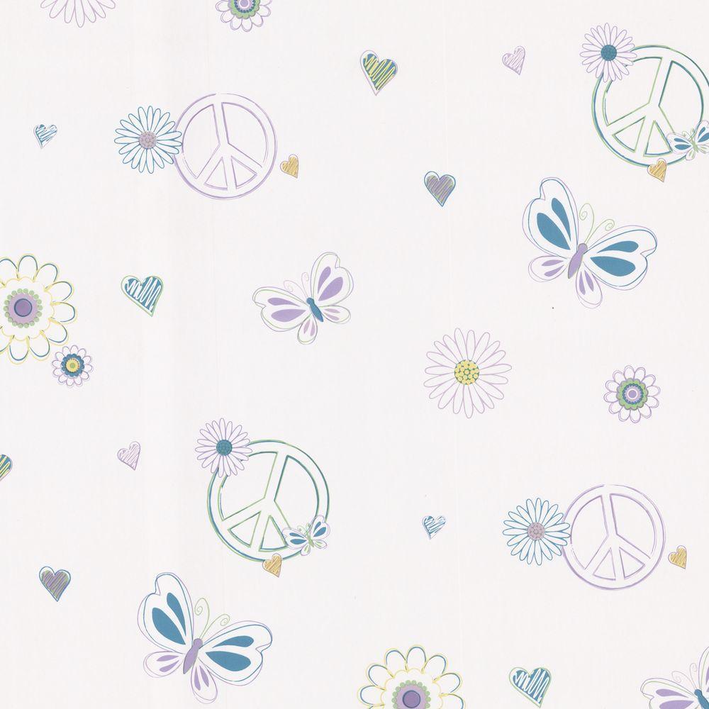 Brewster 56 sq. ft. Love Child Aqua Peace and Love Wallpaper