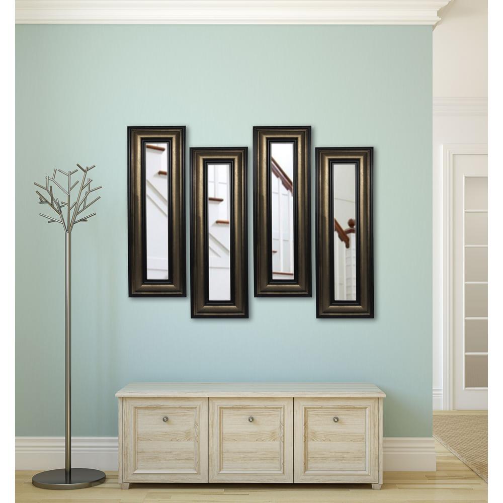 13 in. x 25 in. Stepped Antiqued Vanity Mirror (Set of 4-Panels)