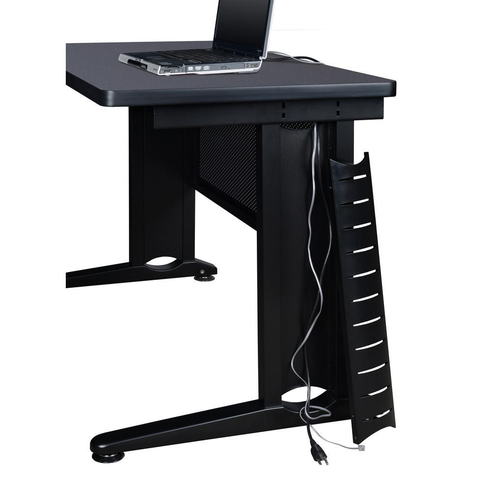 Grey Double Pedestal L Desk With Return