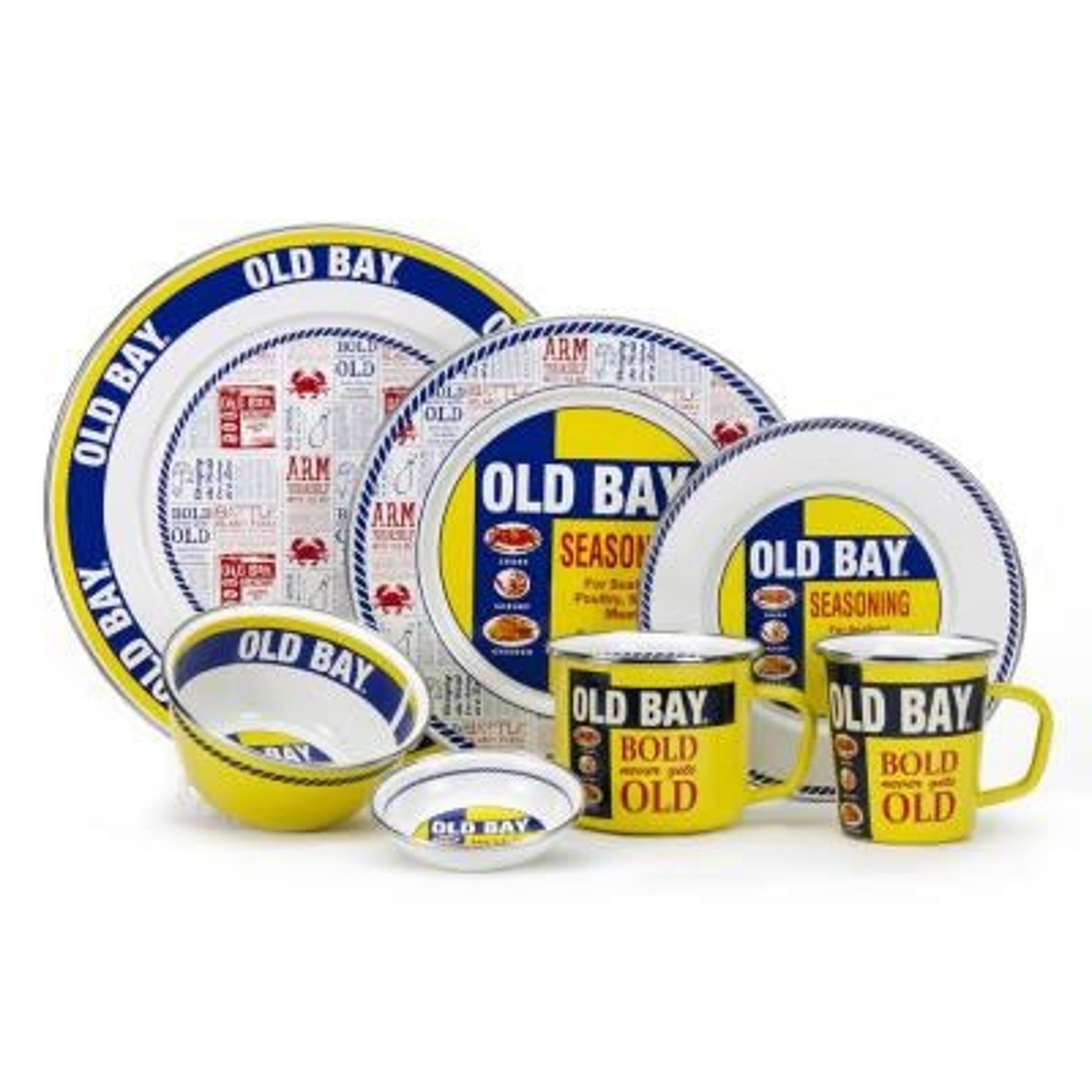 10.5 in. Old Bay Enameled Steel Round Dinner Plate Set of 4