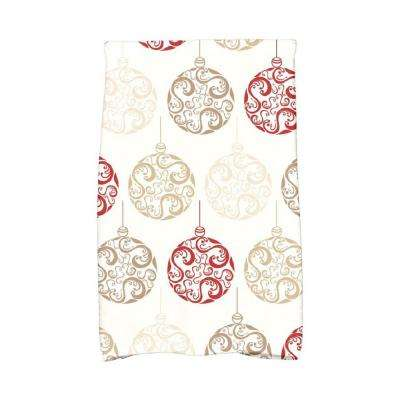 16 in. x 25 in. Red Painterly Bulbs Holiday Geometric Print Kitchen Towel