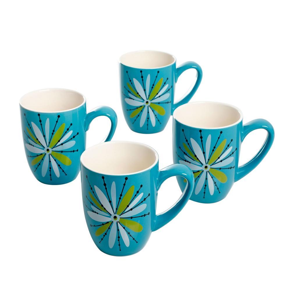 Nordic Cool Anza 16 oz. Turquoise Mug (Set of 4)