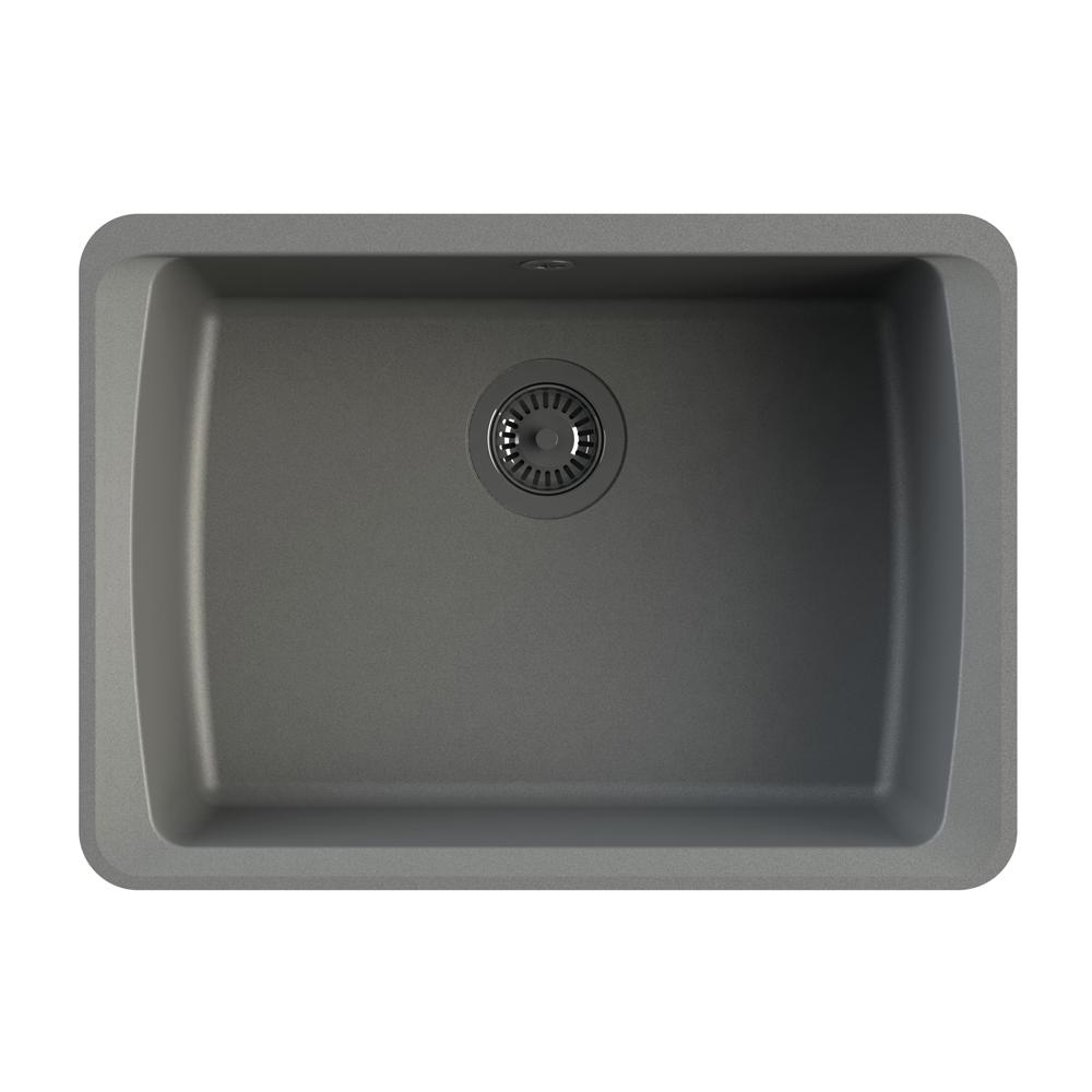 Single bowl kitchen sink in grey