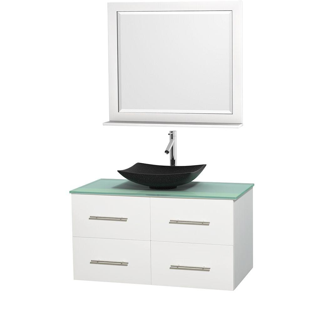 Wyndham Collection Centra 42 in. Vanity in White with Glass Vanity Top in Green, Black Granite Sink and 36 in. Mirror