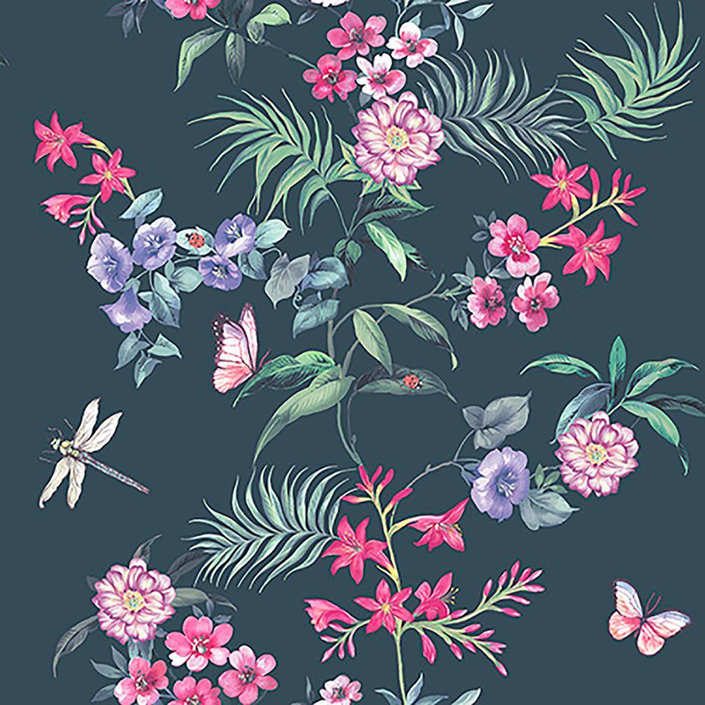 8 in. x 10 in. Carmen Black Floral Sample