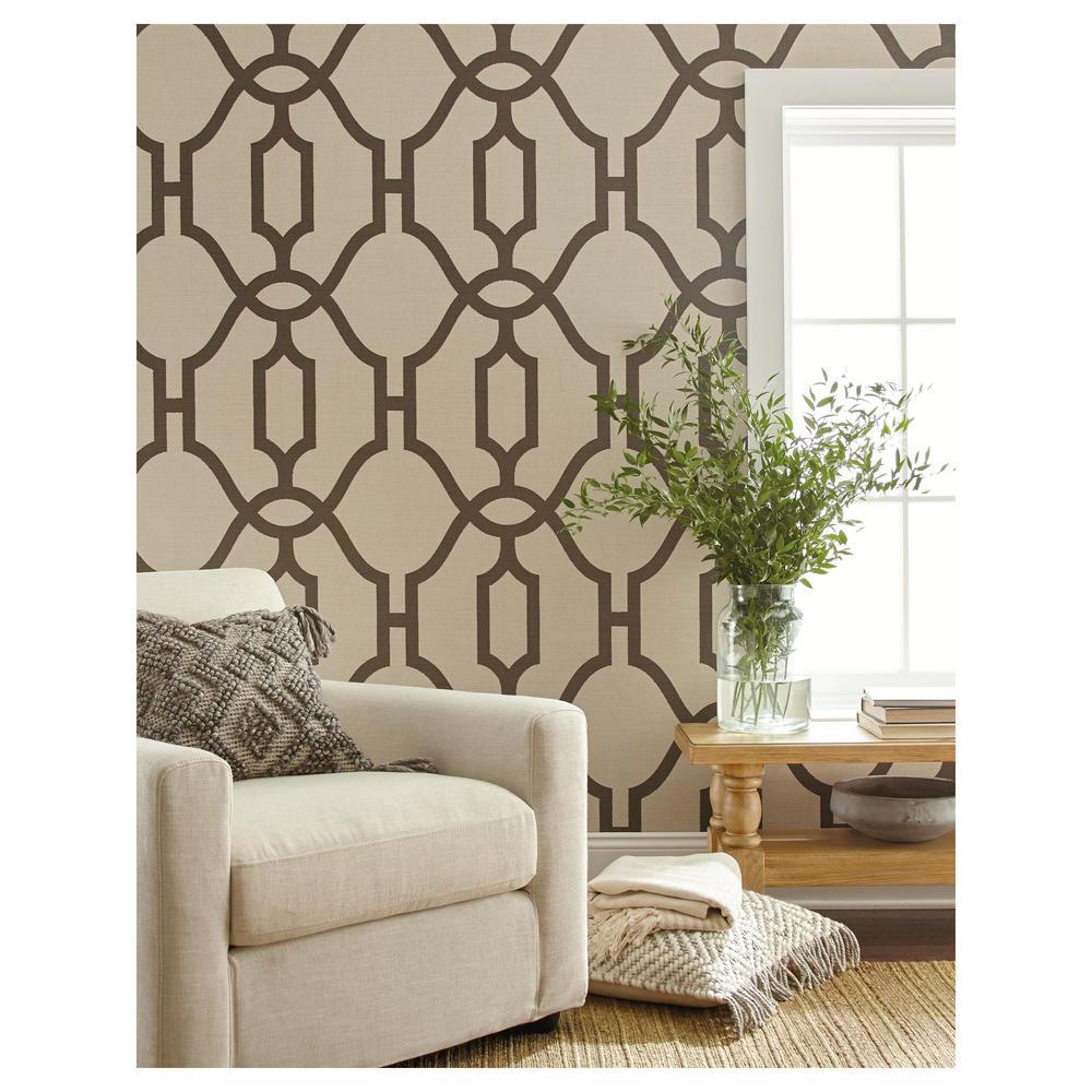 56 sq.ft. Woven Trellis Wallpaper