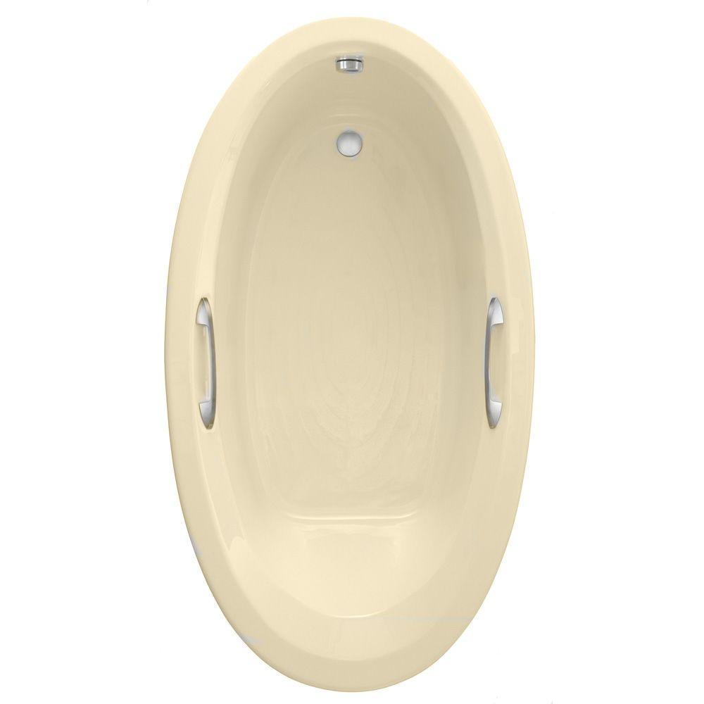 American Standard Ellisse Oval EverClean 5.83 ft. Air Bath Tub in Bone