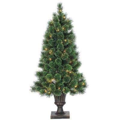 4 ft. Indoor Pre-Lit Deluxe Hard Needle Cashmere Pine Artificial Christmas Tree with 150 Lights