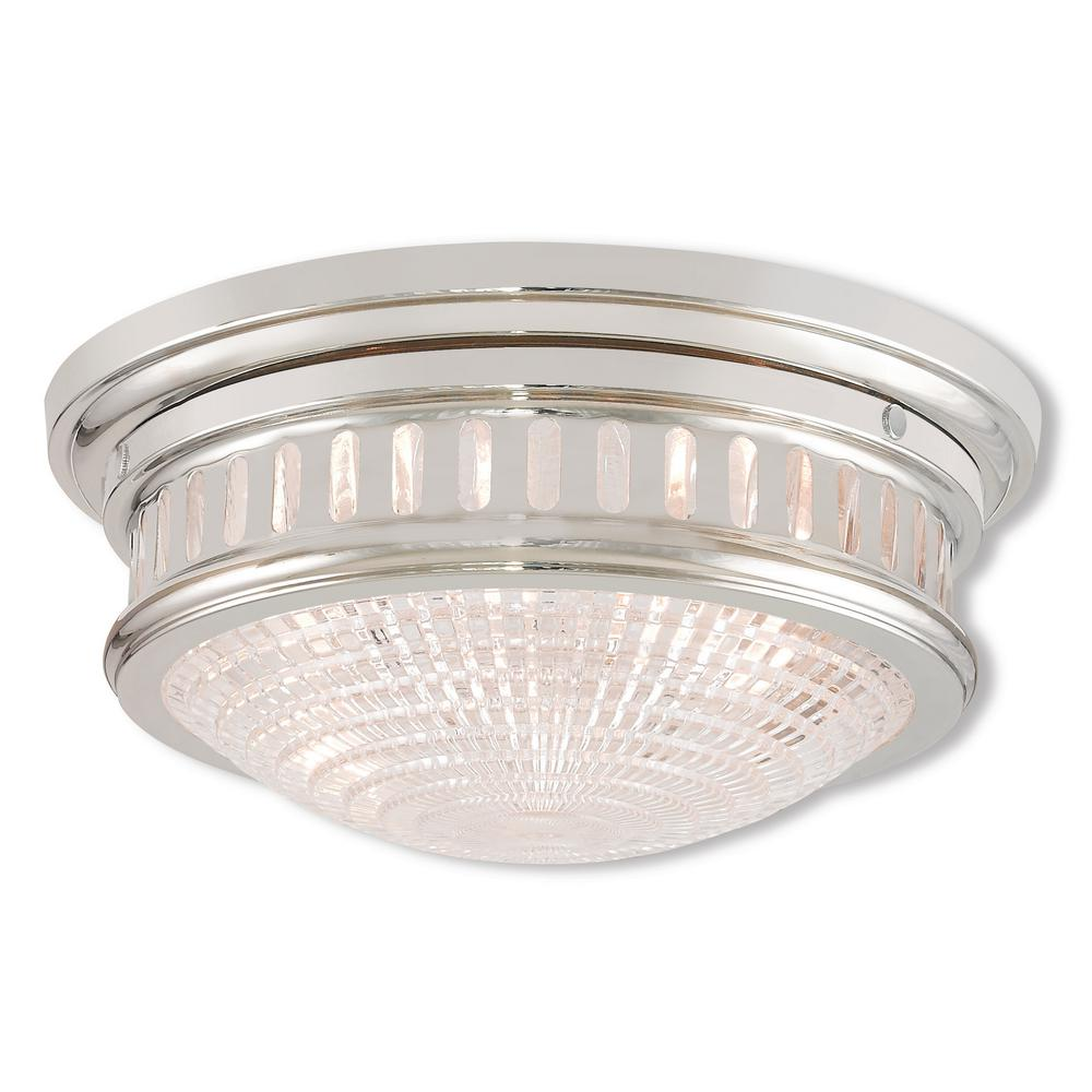 Berwick 2-Light Polished Nickel Flushmount
