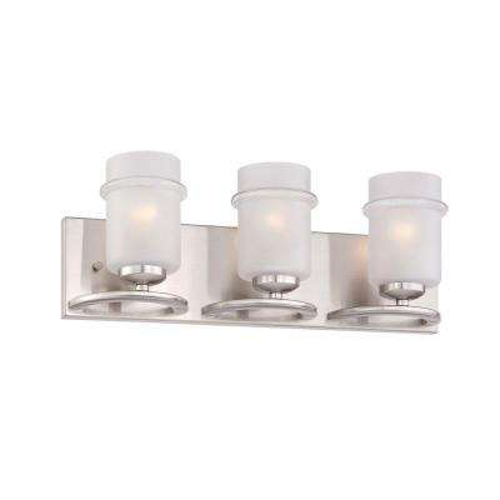 Omega 3-Light Satin Platinum Interior Incandescent Bath Vanity Light