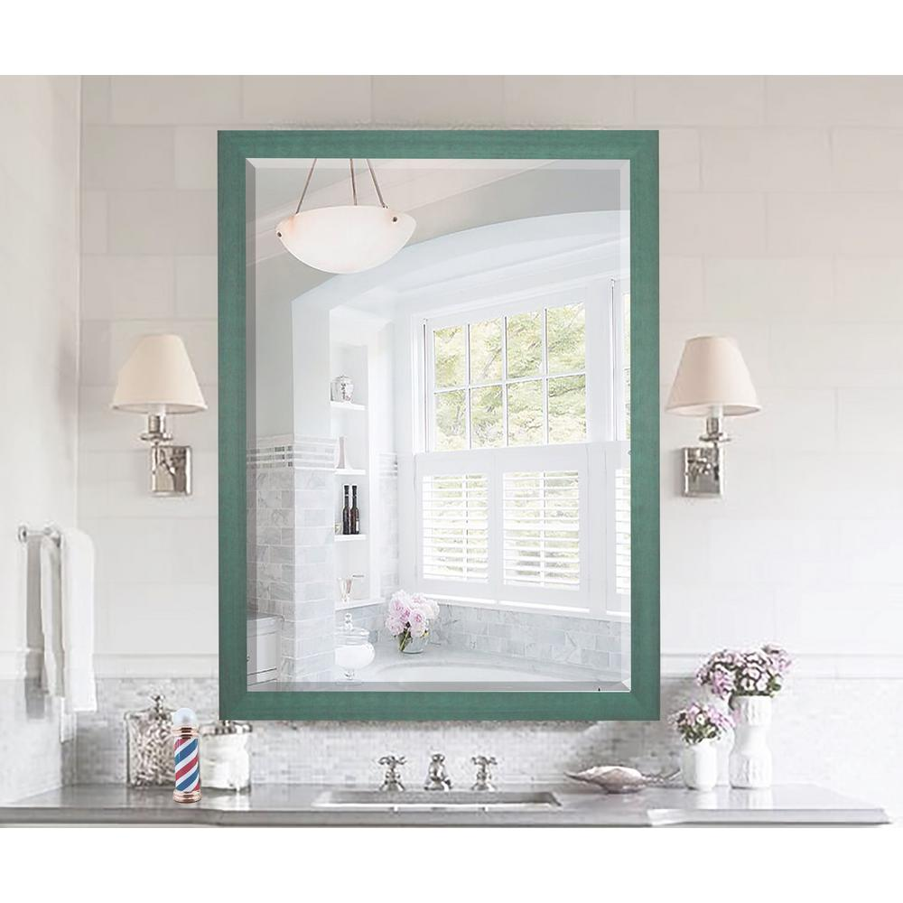 25.5 in. x 21.5 in. Country Cottage Aqua Framed Beveled Vanity ...