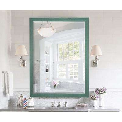 37.5 in. x 33.5 in. Country Cottage Aqua Framed Beveled Mirror