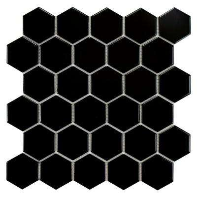 Metro Hex 2 in. Glossy Black 10-1/2 in. x 11 in. x 5 mm Porcelain Mosaic Tile (8.02 sq. ft. / case)