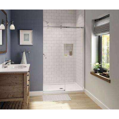 Luminescence 47 in. x 72 in. Frameless Sliding Shower Door in Chrome
