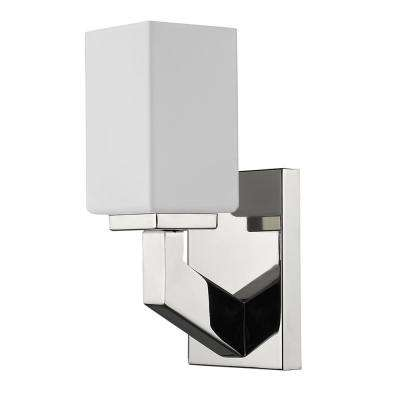 Magnolia 1-Light Polished Nickel Sconce with Etched Glass Shade