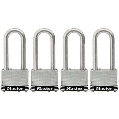 2 in. Laminated Stainless Steel Keyed Padlock with 2-1/2 in. Shackle (4-Pack)