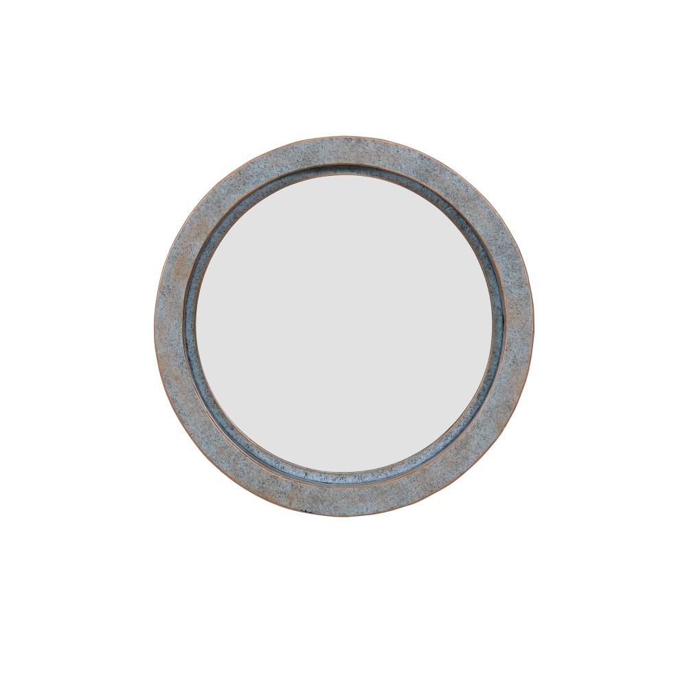 Small Round Green Contemporary Mirror (15.88 in. H x 15.88 in. W)