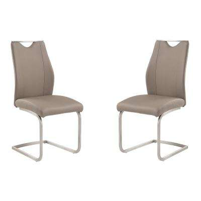 Bravo 39 in. Coffee Faux Leather and Brushed Stainless Steel Finish Contemporary Dining Chair (Set of 2)