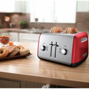 Internet #203433067. KitchenAid 4 Slice Red And Silver Toaster