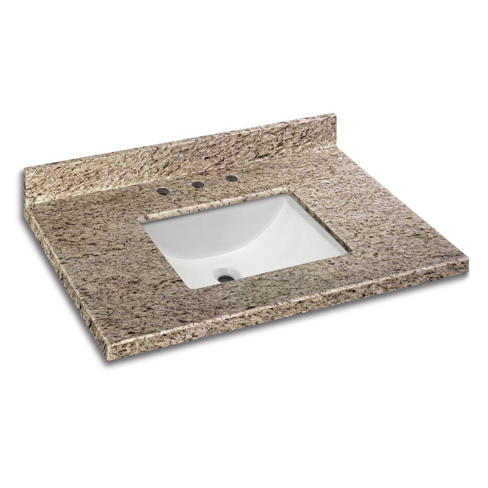 37 in. W x 22 in. D Granite Vanity Top in