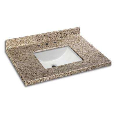 37 in. W x 22 in. D Granite Vanity Top in Giallo Ornamental with White Single Trough Basin