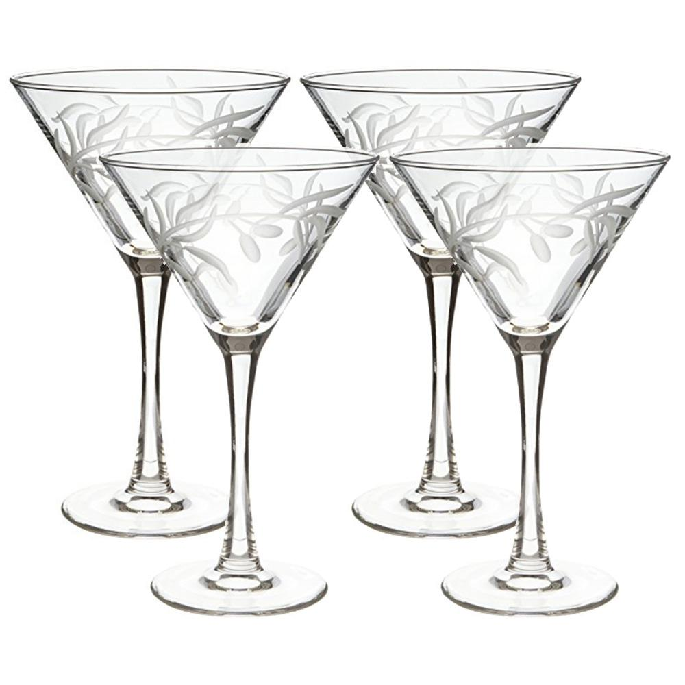 Rolf Glass Olive Branch Clear 10 Oz Martini Glass Set Of 4 302133