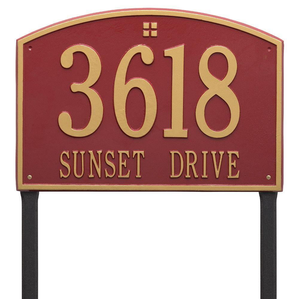Cape Charles Estate Rectangular Red/Gold Lawn 2-Line Address Plaque