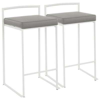 Fuji 26 in. White Stackable Counter Stool with Grey Faux Leather Cushion (Set of 2)