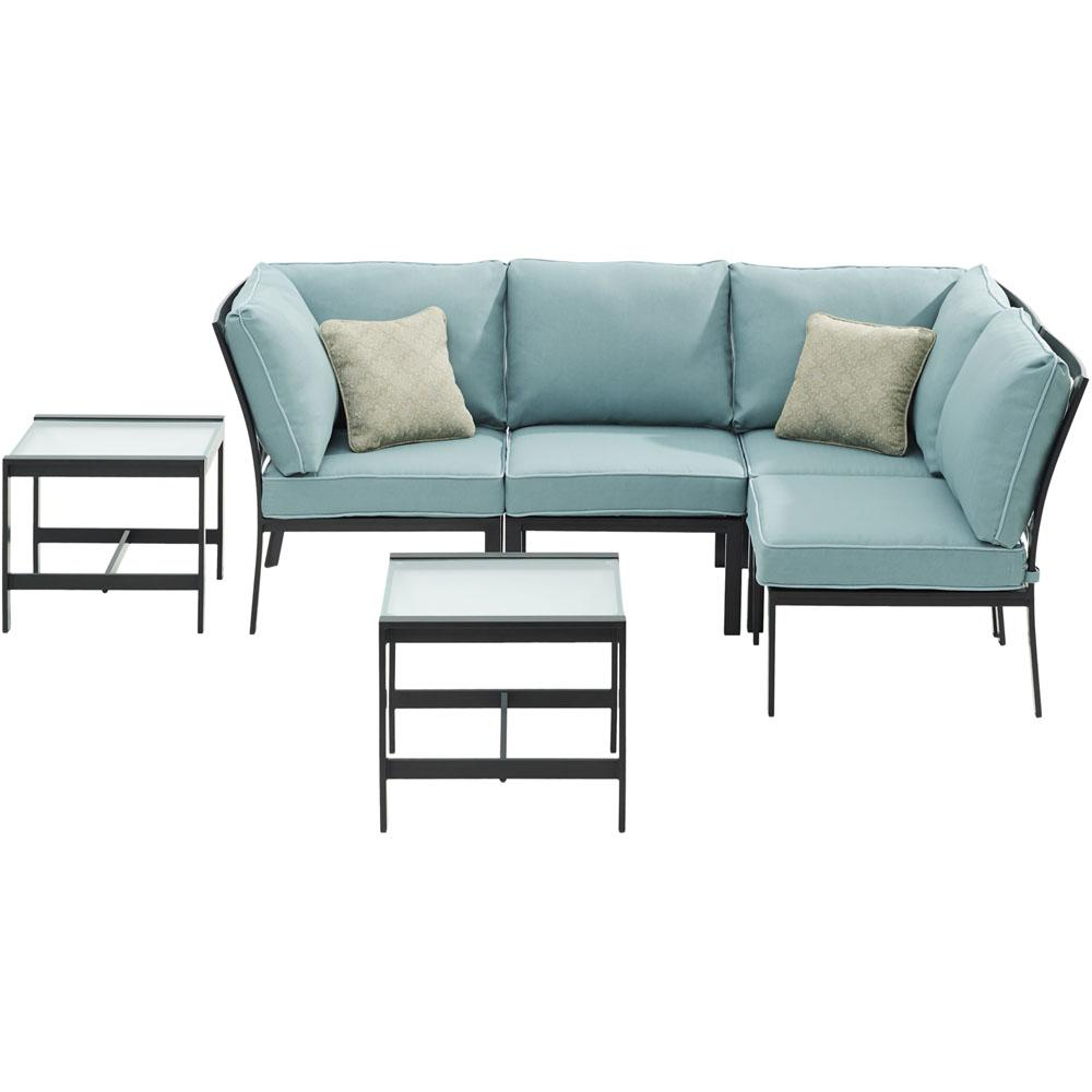 Murano 6-Piece Metal Patio Conversation Set with Ocean Blue Cushions