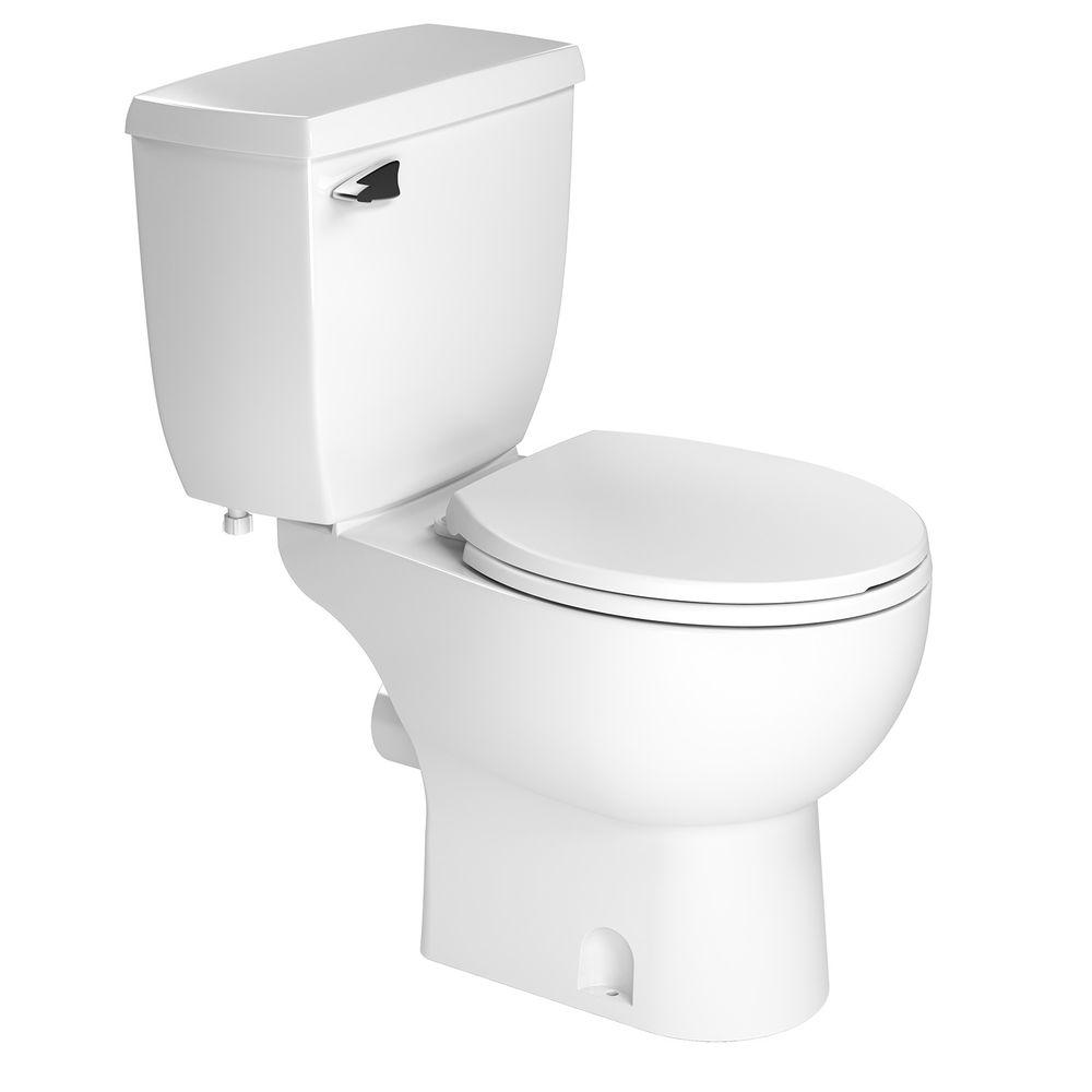 2-piece 1.28 GPF Single Flush Round Toilet in White