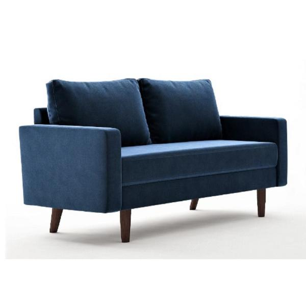 Us Pride Furniture Viva 57 8 In Space Blue Velvet 2 Seater Loveseat With Removable Cushions S5628 L The Home Depot