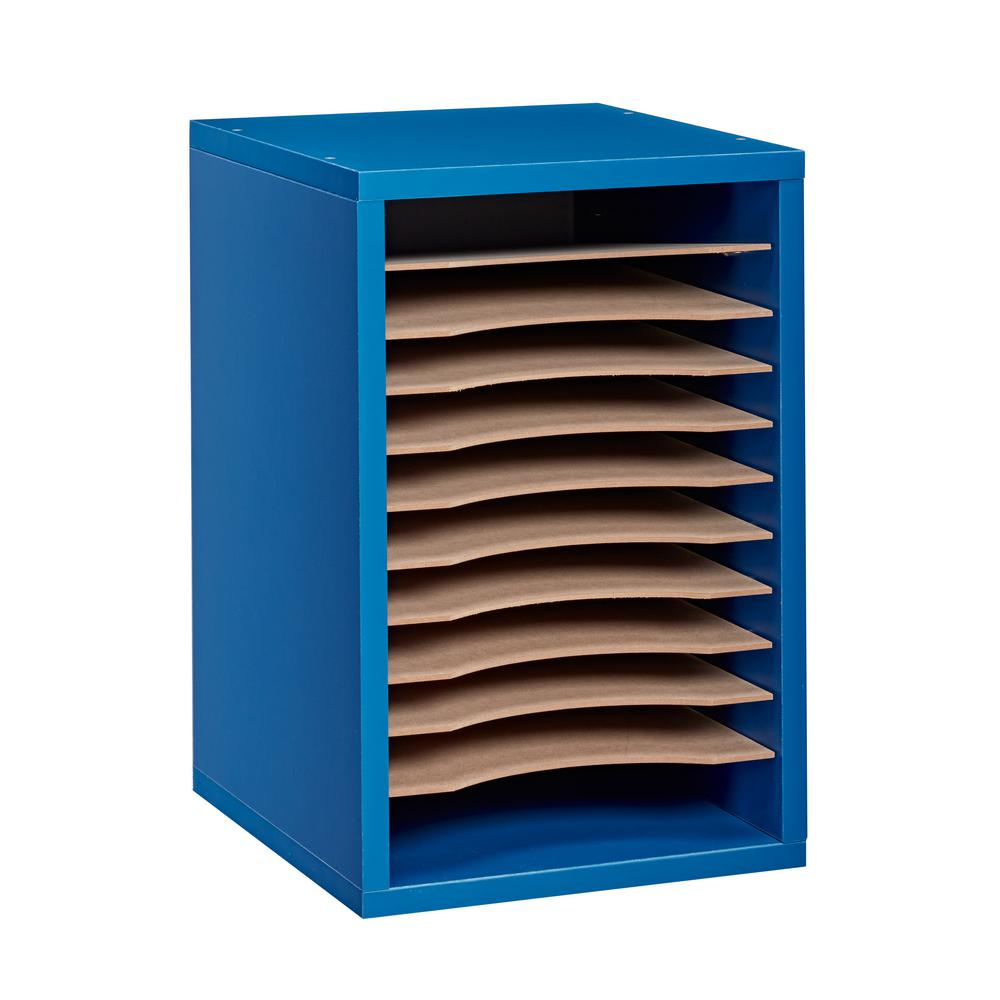 Wood 11 Compartment Vertical Paper Sorter Literature File Organizer, Blue