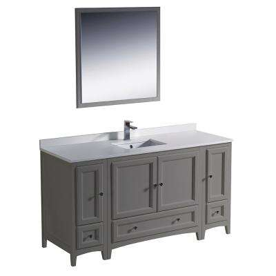 Warwick 60 in. Bathroom Vanity in Gray with Quartz Stone Vanity Top in White with White Basin and Mirror