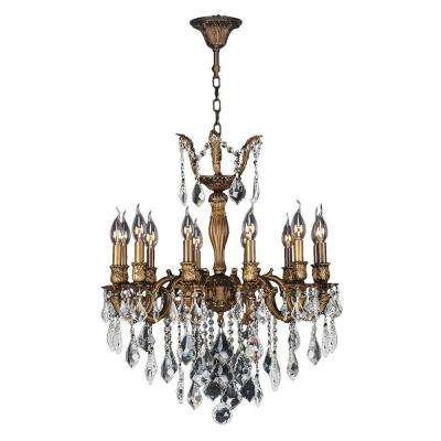 Versailles Collection 12-Light Antique Bronze Chandelier with Clear Crystal