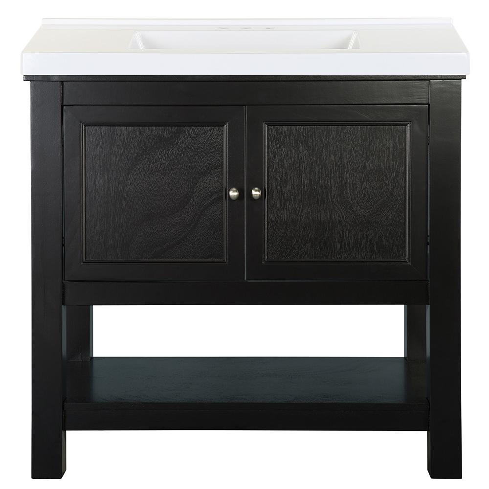 Home Decorators Collection Gazette 37 in. W x 22 in. D Bath Vanity in Espresso with Cultured Marble Vanity Top in White with White Sink was $859.0 now $515.4 (40.0% off)