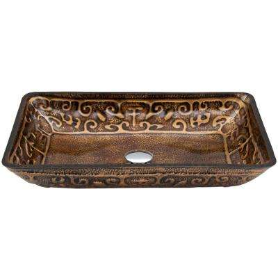 Golden Handmade Glass Rectangle Vessel Bathroom Sink in Gold and Brown Fusion