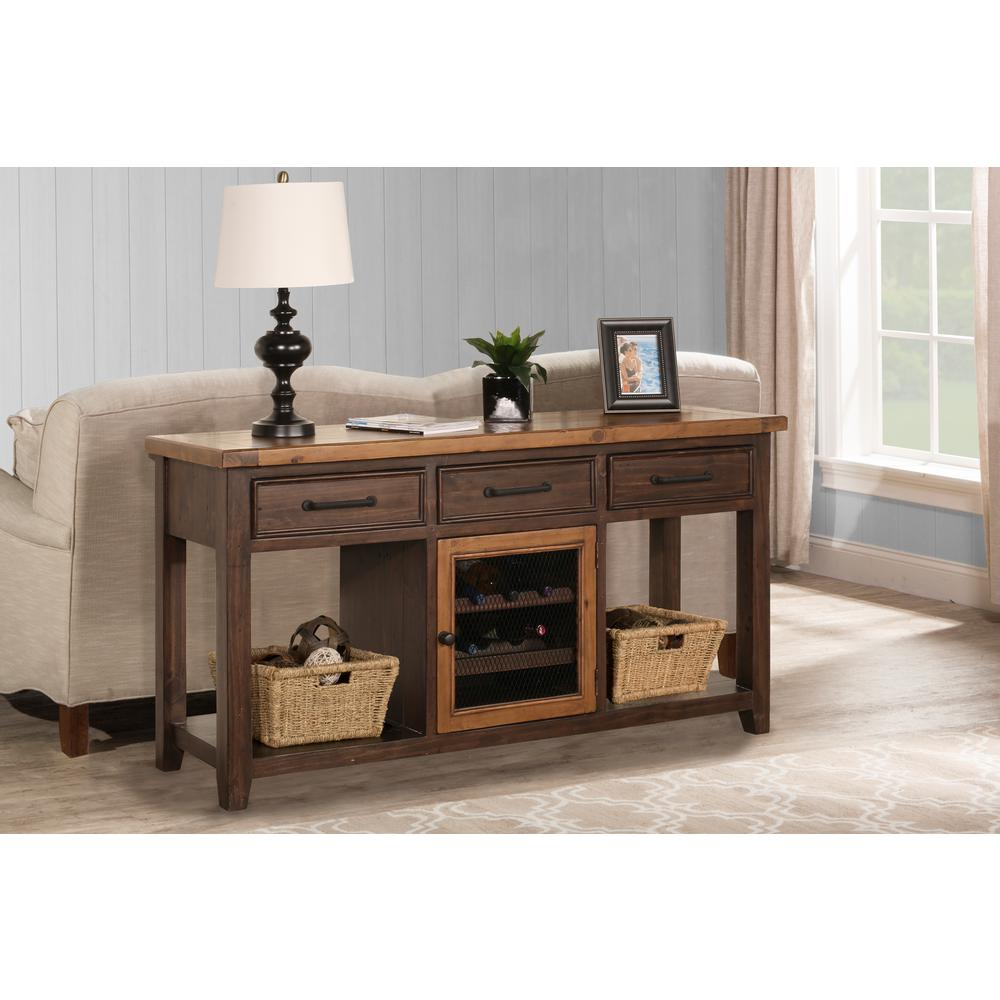 Hilale Furniture Tuscan Retreat Caf Sua 2 Tone Sofa Table With Wine Rack And Two