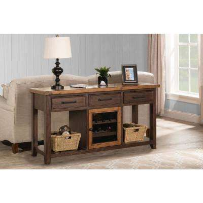 Tuscan Retreat Caf Sua 2-Tone Sofa Table with Wine Rack and Two Baskets