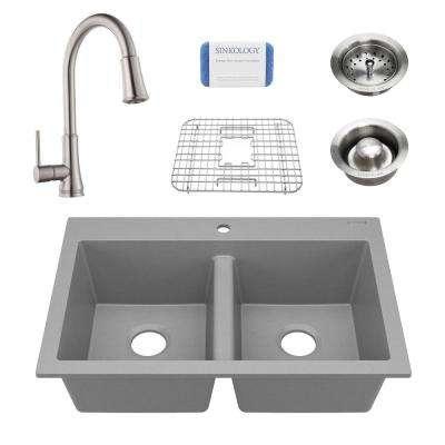 Whitney All-in-One Drop-In Granite Composite 33 in. 1-Hole Double Bowl Kitchen Sink with Faucet and Drains in Matte Gray