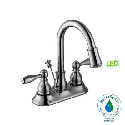 Mandouri 4 in. Centerset 2-Handle LED High-Arc Bathroom Faucet in Chrome
