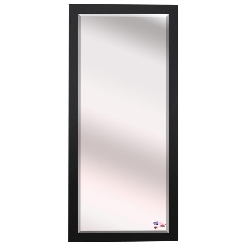 30.25 in. x 71 in. Black Satin Wide Beveled Oversized Full Body Mirror