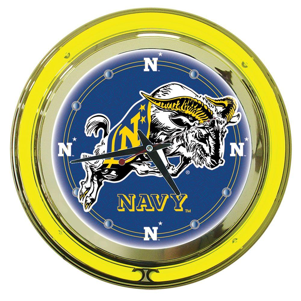 Trademark Global 14 in. United States Naval Academy Neon Wall Clock