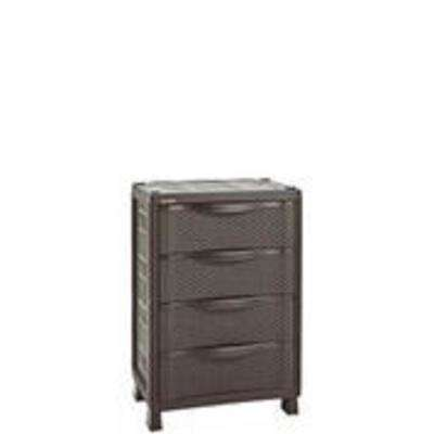 39.8 in. H x 25.6 in. W x 17.7 in. D 4-Drawer Resin Rattan Freestanding Cabinet