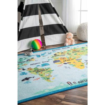 Animal World Map Playmat Baby Blue 5 ft. x 7 ft.  Area Rug