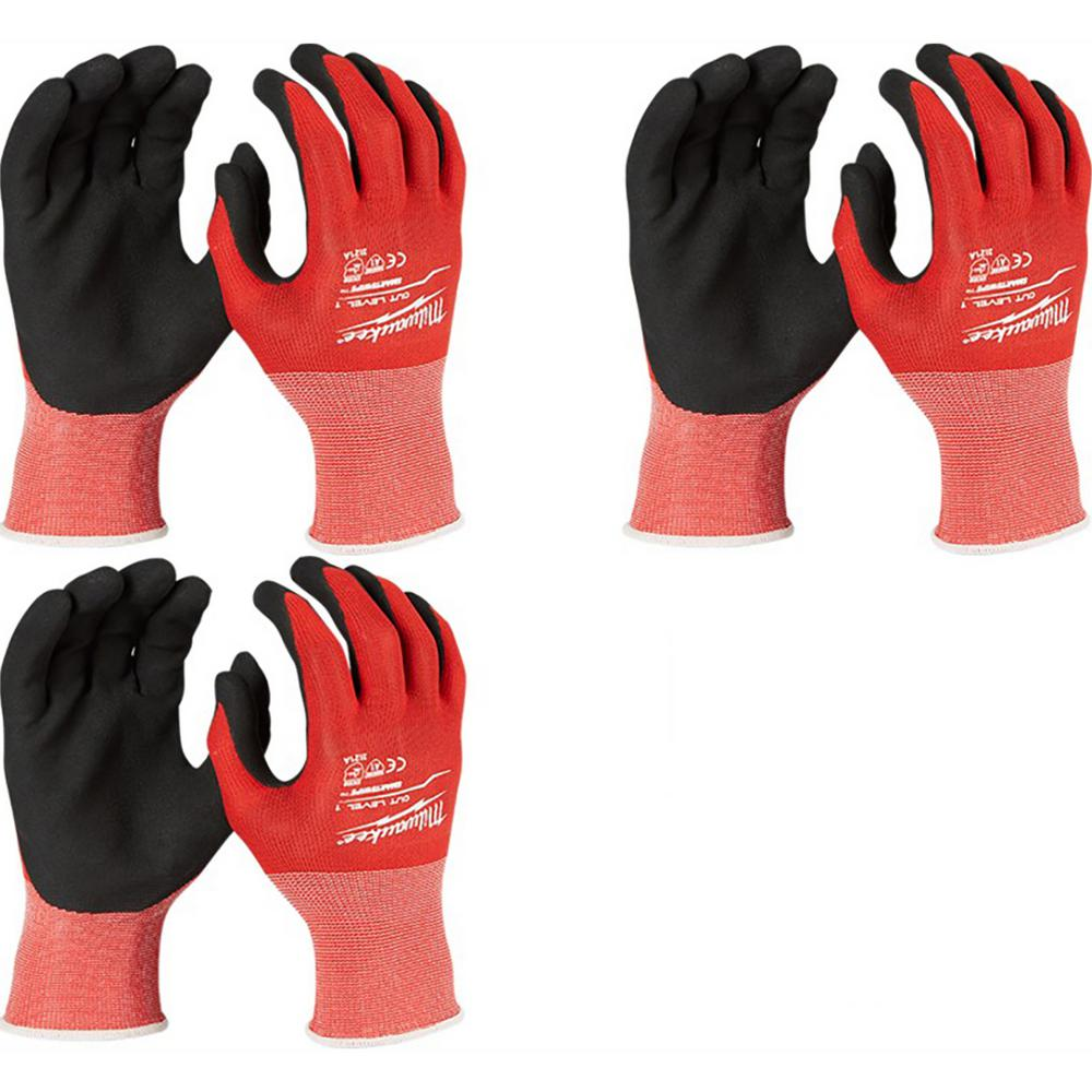 Milwaukee X-Large Red Nitrile Cut Level 1 Dipped Work Gloves (3-Pack)