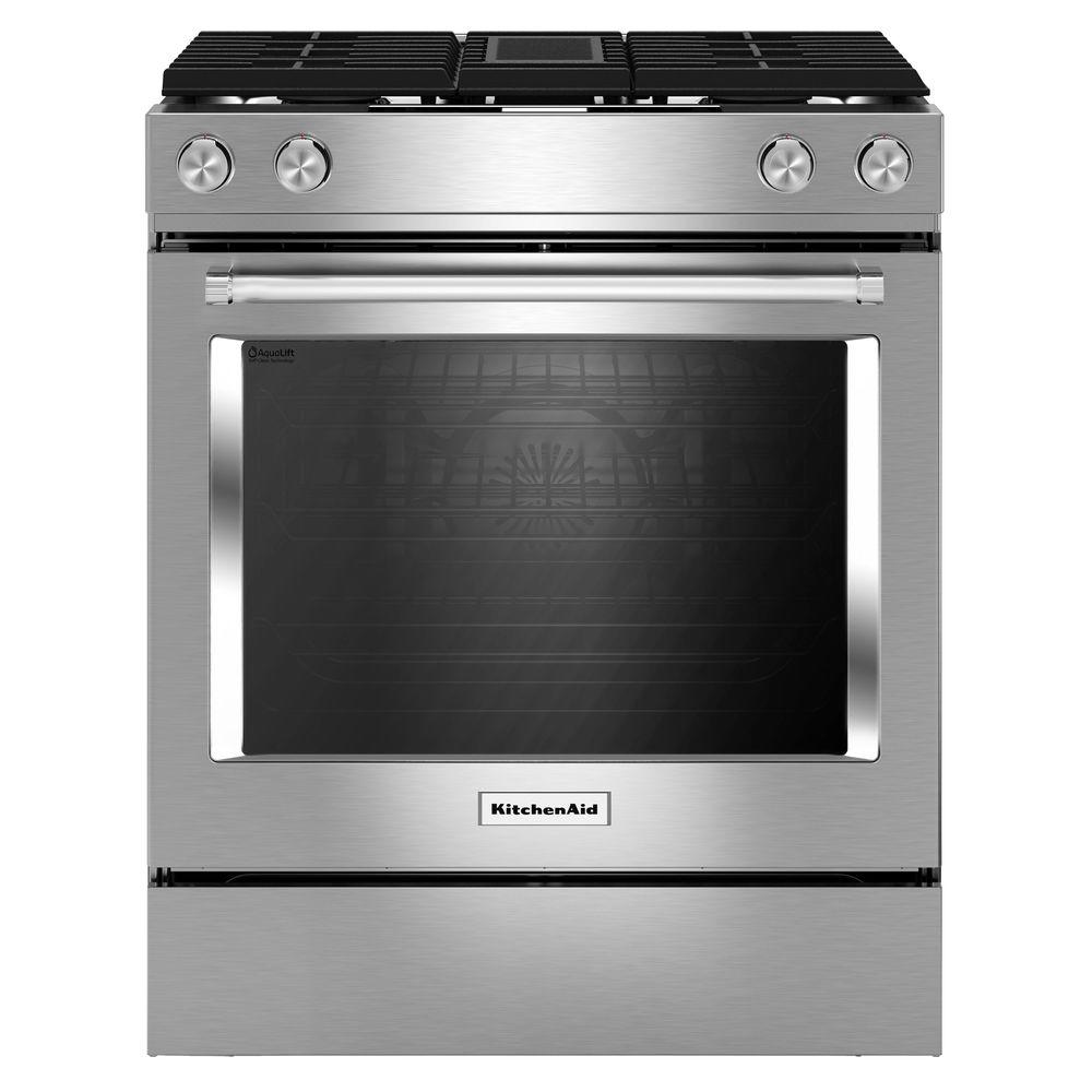 kitchenaid 30 in 6 4 cu ft downdraft slide in dual fuel range with self cleaning convection. Black Bedroom Furniture Sets. Home Design Ideas