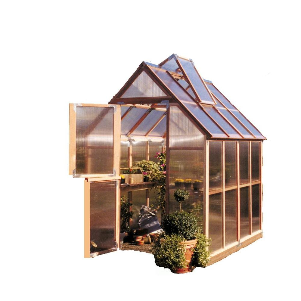 Sunshine Gardenhouse 72 in. W x 72 in. D x 100 in. H Redwood Frame Polycarbonate Greenhouse