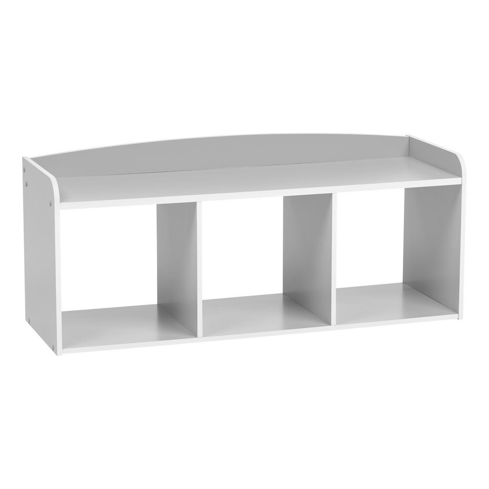 Kid's Gray Wooden Storage Bench