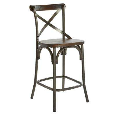26 in. Counter Stool with Walnut Seat and Matte Gunmetal Base